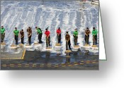 Responsibility Greeting Cards - Sailors Perform A Flight Deck Wash Greeting Card by Stocktrek Images