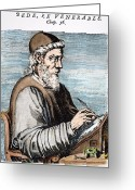 Skullcap Greeting Cards - SAINT BEDE (c672-735) Greeting Card by Granger