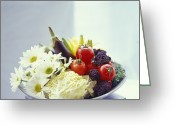 Food And Beverage Greeting Cards - Salad Vegetables Greeting Card by David Munns