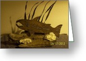 Sea Life Sculpture Greeting Cards - Salmon on Driftwood Greeting Card by JP Giarde