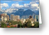 Snow Capped Photo Greeting Cards - Salt Lake City Utah Skyline Greeting Card by Utah Images