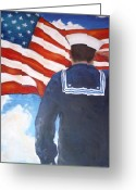 Patriotism Painting Greeting Cards - Saluting Sailor Greeting Card by Suzanne  Frie