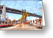 Big Cities Greeting Cards - San Francisco Bay Bridge at The Embarcadero . 7D7706 Greeting Card by Wingsdomain Art and Photography