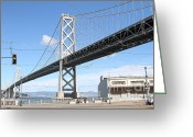 Oakland Bay Bridge Greeting Cards - San Francisco Bay Bridge at The Embarcadero . 7D7755 Greeting Card by Wingsdomain Art and Photography