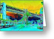 Trolley Greeting Cards - San Francisco Embarcadero And The Bay Bridge Greeting Card by Wingsdomain Art and Photography