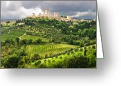 Tuscan Greeting Cards - San Gimignano Tuscany Italy Greeting Card by Carl Amoth