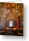 Jesuit Greeting Cards - San Xavier side altar Greeting Card by Jon Berghoff