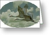 Sandhill Crane Greeting Cards - Sandhill Crane Pair Greeting Card by Larry Linton