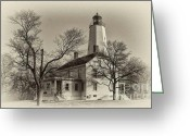 Vintage House Greeting Cards - Sandy Hook Lighthouse Greeting Card by Arnie Goldstein