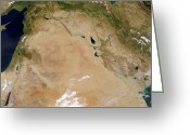 Arid Country Greeting Cards - Satellite View Of The Middle East Greeting Card by Stocktrek Images