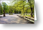 Park Benches Greeting Cards - Saxon Garden in Warsaw Greeting Card by Artur Bogacki