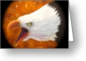 Shaman Drum Greeting Cards - Screaming Eagle Drum  Greeting Card by Ethan  Foxx