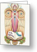 Messenger Greeting Cards - Scroll Angel - Ionica Greeting Card by Amy S Turner