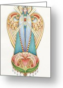 Messenger Greeting Cards - Scroll Angels - Lillium Greeting Card by Amy S Turner