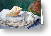 Watercolor By Irina Greeting Cards - Sea Shells Greeting Card by Irina Sztukowski