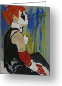Cuffs Greeting Cards - Seated lady clown Greeting Card by Joanne Claxton
