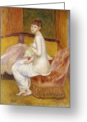 Pierre Renoir Greeting Cards - Seated Nude Greeting Card by Pierre Auguste Renoir