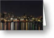 Puget Sound Greeting Cards - Seattle Skyline Greeting Card by Michael Gass