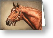 Jockeys Greeting Cards - Secretariat at Claiborne Greeting Card by Thomas Allen Pauly
