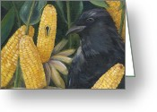 Cornfield Greeting Cards - Secrets Of The Garden- CROW Greeting Card by Debbie McCulley