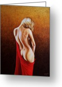 Woman Painting Greeting Cards - Secrets of the Red Veil Greeting Card by Horacio Cardozo