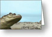 Sharp Teeth Greeting Cards - See You Later Alligator Greeting Card by Ellen Henneke