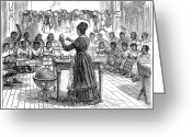 Schoolgirl Photo Greeting Cards - Segregated School, 1870 Greeting Card by Granger