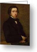 1855 Greeting Cards - Self portrait Greeting Card by Edgar Degas