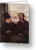 Two Men Greeting Cards - Self-portrait with Evariste de Valernes Greeting Card by Edgar Degas