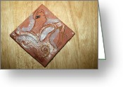 Uganda Pottery Ceramics Greeting Cards - Sena - Tile Greeting Card by Gloria Ssali