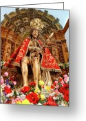 Jesus Christ Icon Photo Greeting Cards - Senhor Bom Jesus da Pedra Greeting Card by Gaspar Avila