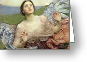 Angel Painting Greeting Cards - Sense of Sight Greeting Card by Annie Louisa Swinnerton