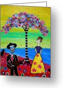 Cartera Greeting Cards - Serenading Frida Greeting Card by Pristine Cartera Turkus