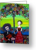 Guitar Greeting Cards - Serenata Greeting Card by Pristine Cartera Turkus