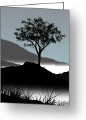 Tree Digital Art Greeting Cards - Serene Greeting Card by Chris Brannen