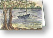N Taylor Greeting Cards - Serenity Sailboat Greeting Card by N Taylor