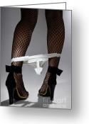 Sexuality Greeting Cards - Sexy Legs in Stockings Taking Off her Panties Greeting Card by Oleksiy Maksymenko