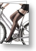 Riding Outfit Greeting Cards - Sexy Woman Riding a Bike Greeting Card by Oleksiy Maksymenko
