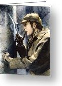 Smoker Greeting Cards - Sherlock Holmes Greeting Card by Granger