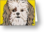 Contemporary Dog Portraits Greeting Cards - Shih tzu Greeting Card by Slade Roberts
