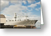 Port Of San Francisco Greeting Cards - Ship and Loading Dock at a Seaport Greeting Card by Eddy Joaquim