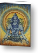 Snake Painting Greeting Cards - Shiva Greeting Card by Vrindavan Das