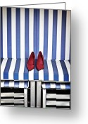Striped Greeting Cards - Shoes In A Beach Chair Greeting Card by Joana Kruse