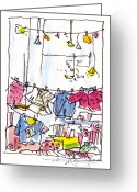 City Scene Drawings Greeting Cards - Shop Window Paris Greeting Card by Marilyn MacGregor
