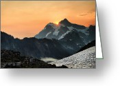 Mountain Summit Greeting Cards - Shuksan Sunrise Greeting Card by Winston Rockwell