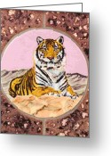Wildlife Art Ceramics Greeting Cards - Siberian Tiger Greeting Card by Dy Witt