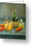 Cask Greeting Cards - Sicilian Table Greeting Card by Pamela Allegretto