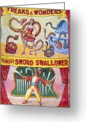 Performer Greeting Cards - SIDESHOW POSTER, c1975 Greeting Card by Granger