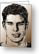 Hockey Mixed Media Greeting Cards - Sidney Crosby in 2007 Greeting Card by J McCombie