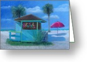 Shack Pastels Greeting Cards - Siesta Key Beach Florida Greeting Card by Diane Larcheveque